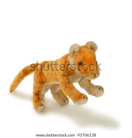 toy old lion isolated - stock photo