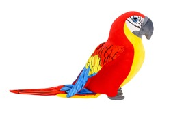 Toy parrot, stuffed parrot toy on white background, isolated image