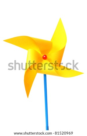 toy pinwheel on white background - stock photo