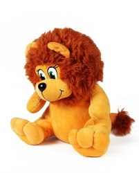 toy plush lion on a white background, isolate