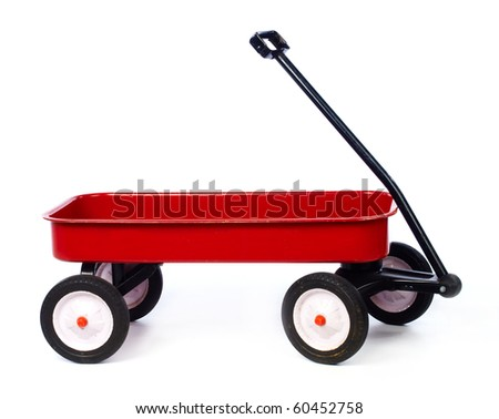 Toy red wagon on white full size