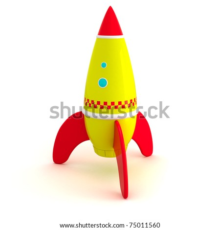Toy rocket isolated