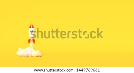 Toy rocket takes off from the books spewing smoke on a yellow background. Symbol of desire for education and knowledge. School illustration. 3D rendering.