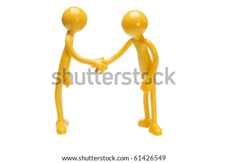 Toy rubber figurines shaking hands on white background