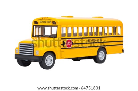Toy School Bus isolated on a white background - stock photo