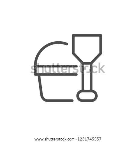 Toy set for sandbox line icon isolated on white