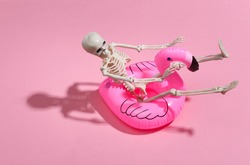 Toy skeleton with inflatable flamingo on pink bright background. Halloween theme. Beach vacation concept. Summer rest.