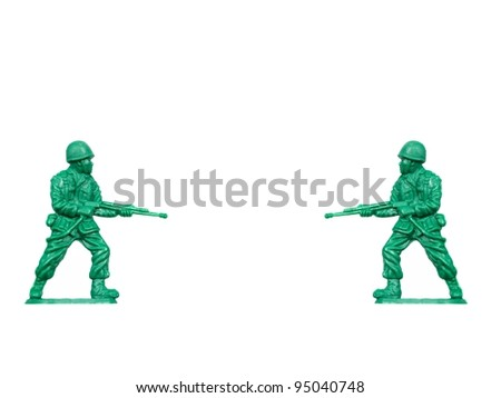 Toy soldiers isolated against a white background