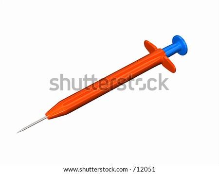 Toy syringe, ora,nge and blue