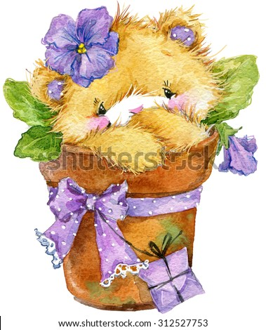 Toy Teddy bear and flower violet. Toy background for celebration kids Birthday festival. watercolor illustration