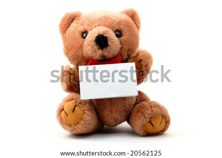 toy teddy bear with blank sheet isolated on white background