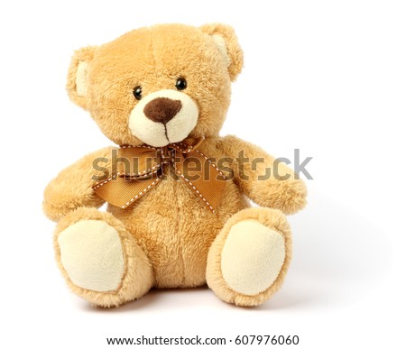 toy teddy isolated on white background - Shutterstock ID 607976060