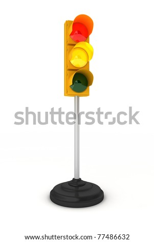 Toy traffic light over white background showing green yellow and red