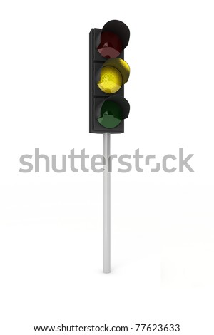 Toy traffic light over white background showing yellow light