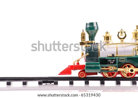 Toy Train Coming From the Right Part of Frame with Space For Text