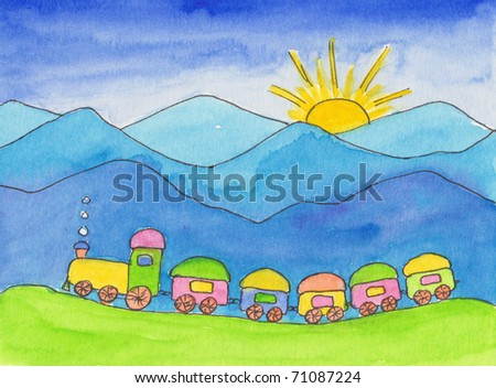 Toy train in the mountains watercolor painting