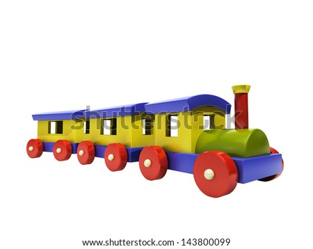 Toy train on a white background, light shadow and reflection