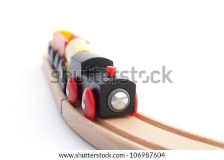 Toy train on tracks, shallow DOF