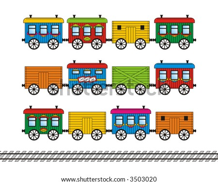 Toy train set - freight, mail and passenger cars and railroad track
