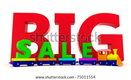 "Toy train with letters ""BIG sale"""