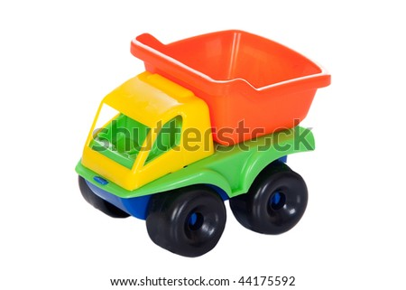 Toy truck with many colors isolated on white background