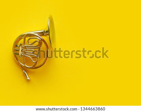Toy trumpet on bright yellow background. Flat lay, top view, copy space for the text #1344663860