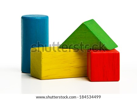 toy wooden blocks, multicolor building construction bricks over white background  ストックフォト ©