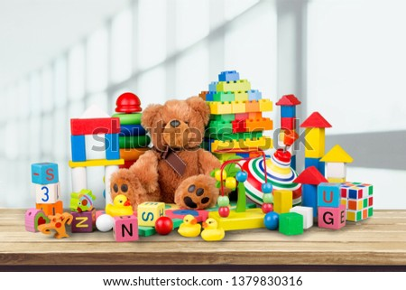 Toys collection isolated on  background #1379830316