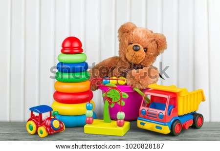 Toys collection on wooden desk
