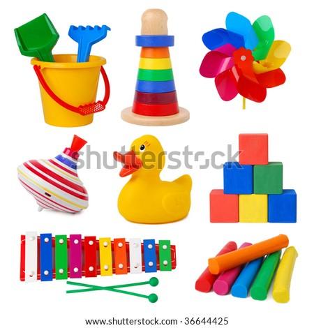 Toys isolated on white background