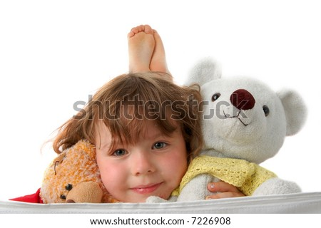 Toys (Two teddy bear In girl  hands) on white background