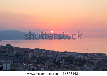 Trabzon landscape beautiful sunset citycape view of Trabzon city, in the Black Sea region Turkey. Loves hill is best touristic destination of Trabzon.