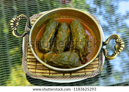 Trabzon style meat and rice wrapped in cabbage leaves (Kara lahana sarmasi) in Turkey Stok fotoğraf ©