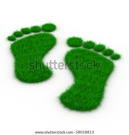 Trace foot from grass. Isolated 3D image