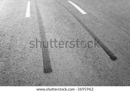 Traces of a braking on an asphalt