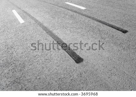 Traces of a braking on an asphalt