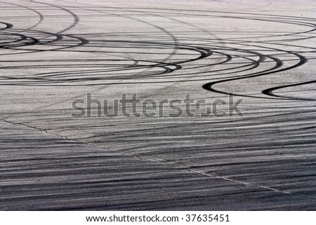 Traces of braking from rubber tyres on asphalt