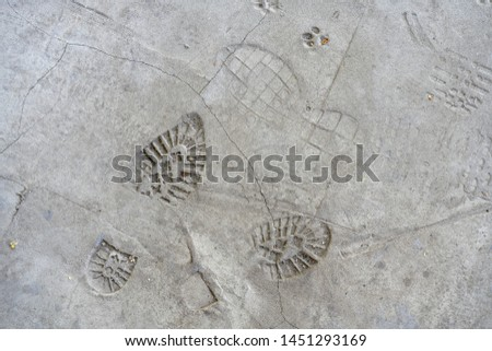 traces of shoes on the concrete floor. Imprints of shoes on the concrete floor. Shoe markings left behind in wet cement by contractor's reckless workmen. Shoe prints background #1451293169