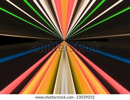 Traces of street illumination.Symmetrical montage.