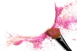 Traces of vibrant pink powder and blush forming a frame, with a makeup brush. A square template for a makeup artist's business card or flyer design, with copy space