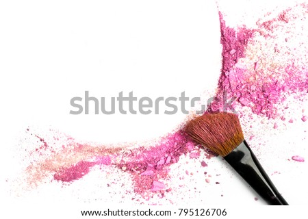 Traces of vibrant pink powder and blush forming a frame, with a makeup brush. A square template for a makeup artist's business card or flyer design, with copy space #795126706