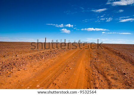 Track along The Dog Fence near Coober Pedy in outback South Australia