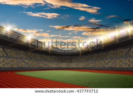 Track and field Stadium with fans wearing yellow uniform