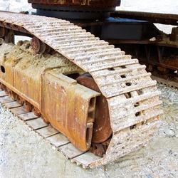 Track detail of an excavator machine