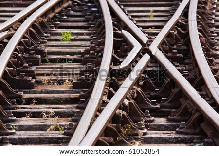 Track in a railway siding at a points junction UK