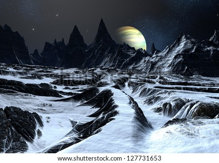 Track over twisted surface on alien planet towards distant mountains. - stock photo