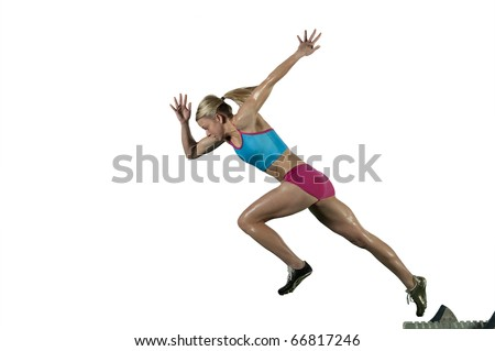 Track runner bursts off starting block against a white background