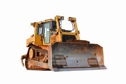 Track-type bulldozer isolated on white background. Earth-moving equipment. Dozer on isolation