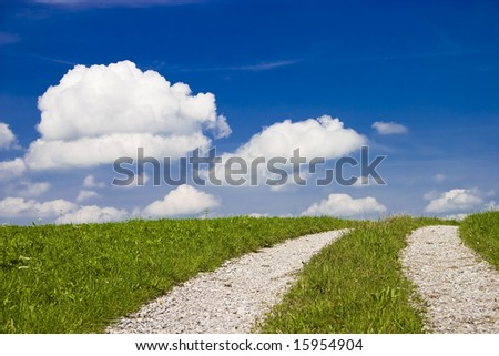 Tracked path through rural landscape