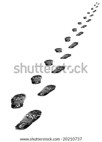 Tracks of shoes isolated on white background